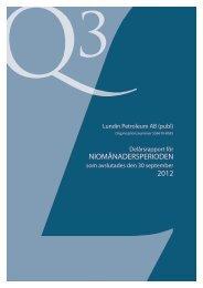 Q3 rapport 2012 - Lundin Petroleum