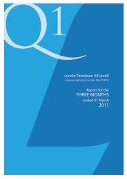 3 month report 2011 - Lundin Petroleum