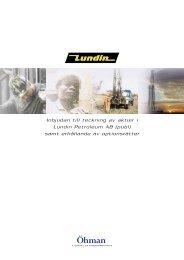 Missionsprospekt - Oktober 2001 - Lundin Petroleum