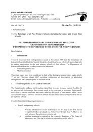 transfer from primary to post primary education 2013/14