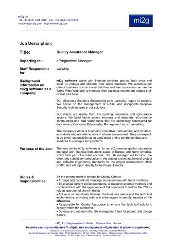 Quality Assurance Manager - mi2g