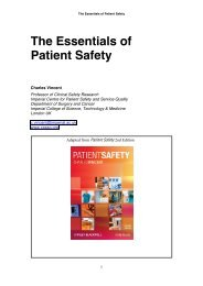 The Essentials of Patient Safety - Clinical Human Factors Group