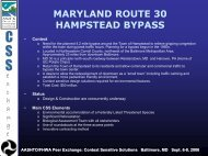 Maryland: 30/Hampstead Bypass - Center for Environmental ...