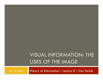 VISUAL INFORMATION: THE USES OF THE IMAGE - Courses