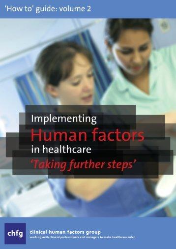 [Pre-publication copy] - Clinical Human Factors Group