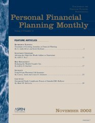 Personal Financial Planning Monthly - Editorial Direction LLC