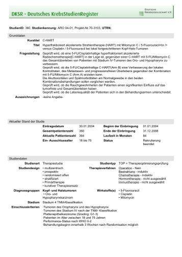 StudienID: 360, Studienkennung: ARO 04-01, Projekt-Nr.70-3103 ...