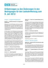 Erläuterungen zu den Änderungen in den Bedingungen für ... - DKB