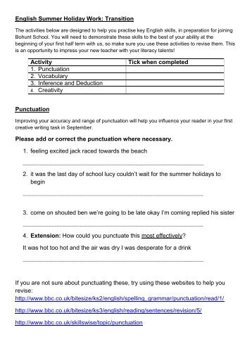 English Summer Holiday Work: Transition Activity ... - Bohunt School