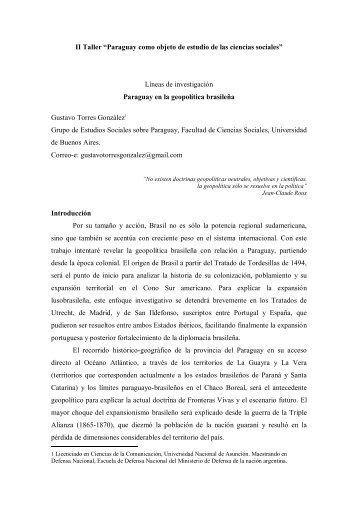 Geopolítica brasileña en Paraguay - Grupo de Estudios Sociales ...