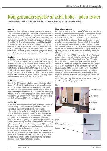 Røntgenundersøgelse af axial hofte - uden raster