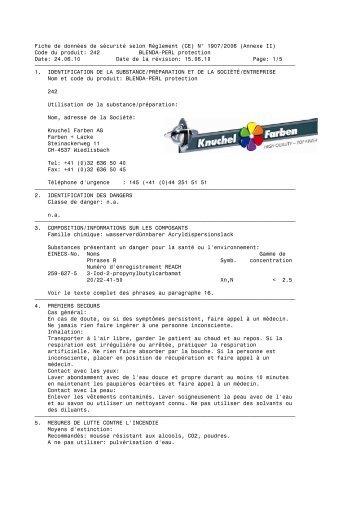 Code du produit: 242 BLENDA-PERL protection - Knuchel Farben AG