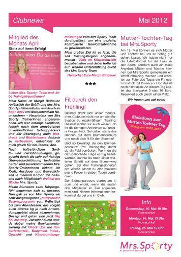 Clubnews Mai 2012 - Mrs.Sporty