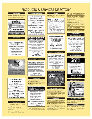 PRODUCTS & SERVICES DIRECTORY - Cleaner Times Magazine