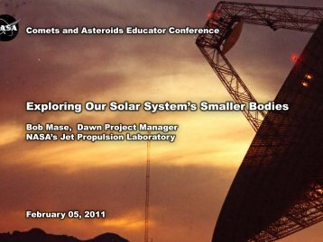 Exploring Our Solar System's Smaller Bodies - Stardust-NExT - NASA