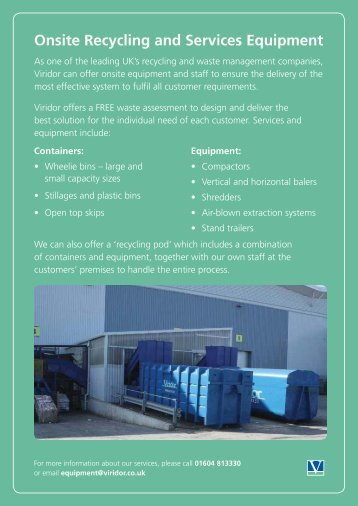 Onsite Recycling and Services Equipment - Viridor waste ...