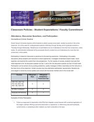 Classroom Policies - Student Expectations / Faculty Commitment