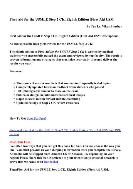 First Aid for the USMLE Step 2 CK, Eighth Edition (First Aid USM