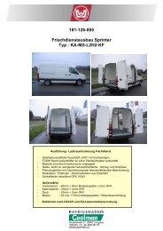 181-126-005 Frischdienstausbau Sprinter Typ : KA-MS-L2H2-KF