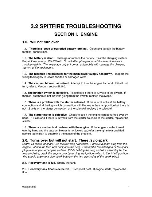 3 2 SPITFIRE TROUBLESHOOTING GUIDE - HydraMaster