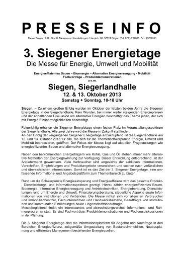 Pressemitteilung vom 16.01.2013 - Messe Siegen