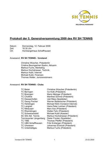 GV Protokoll 2009 (PDF) - Tennis-Vereinigung Schaffhausen