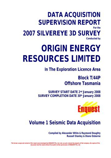 ORIGIN ENERGY RESOURCES LIMITED In The Exploration ...