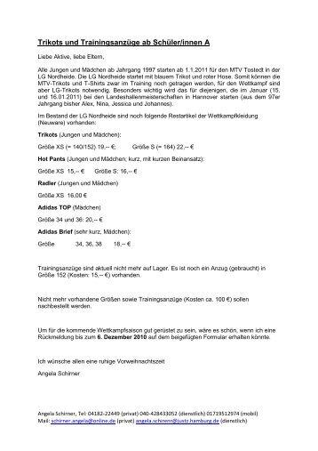 Trikots und Trainingsanzüge ab Schüler/innen A - MTV Tostedt