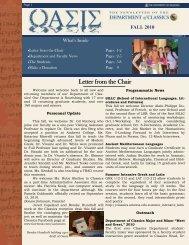 FALL 2010 - College of Humanities - University of Arizona