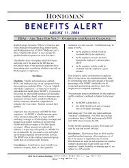 HSAs - Are They For You? - Overview and Recent ... - Honigman
