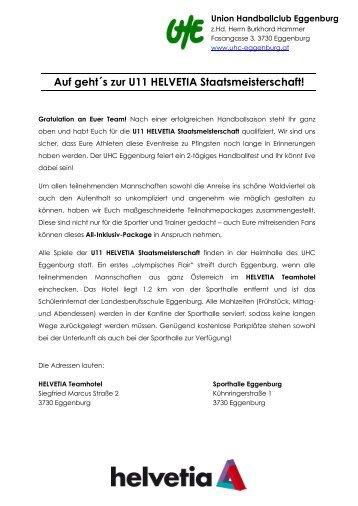 Auf geht´s zur U11 HELVETIA Staatsmeisterschaft! - UHC Eggenburg