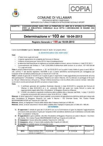 Scarica la Determina Servizio Socio - Culturale n. 103/2013