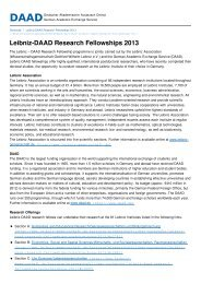 Leibniz-DAAD Research Fellowships 2013 - DAAD - Deutscher ...