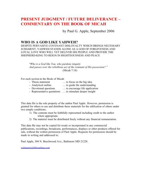 Commentary On The Book Of Micah Free Sermon Outlines