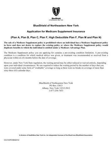 Medicare Certification Form - Blue Shield of Northeastern New York