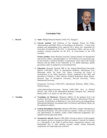 academic CV Philipp Mueller July 2004 - Tecnológico de Monterrey