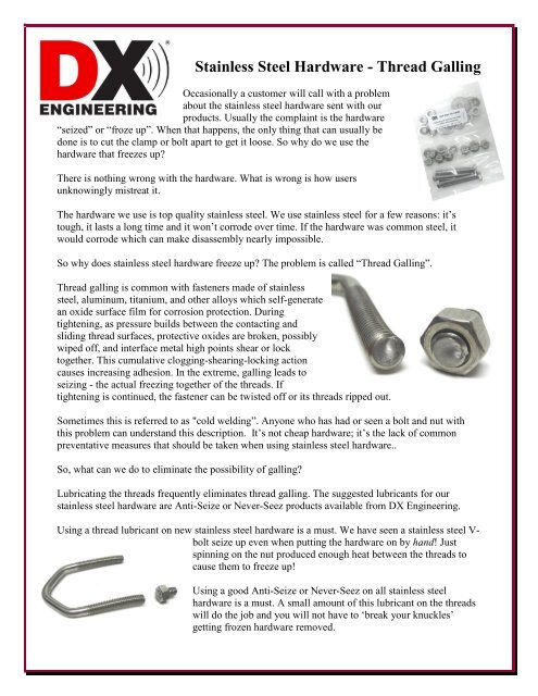 Stainless Steel Hardware - Thread Galling - DX Engineering