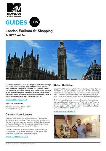 GUIDES - London Earlham St Shopping - MTV Travel Co