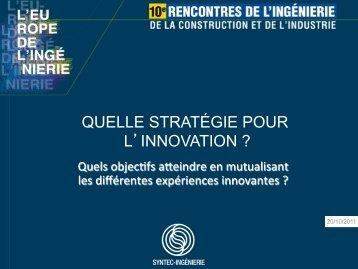 QUELLE STRATÉGIE POUR L'INNOVATION ? - Syntec ingenierie