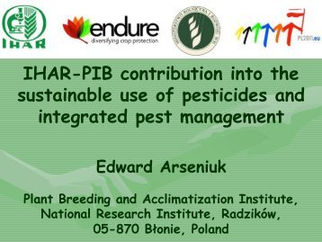 IHAR contribution to sustainable use of pesticides and IPM Part I