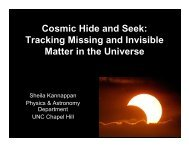 Cosmic Hide and Seek - The Department of Physics and Astronomy
