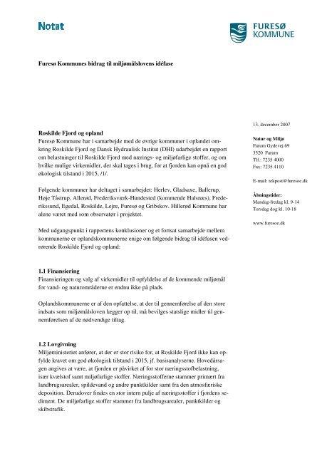 Furesø Kommunes bidrag til miljømålslovens ... - Miljøministeriet