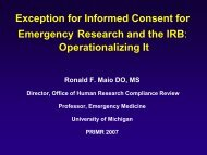 Exception for Informed Consent for Emergency Research and the IRB