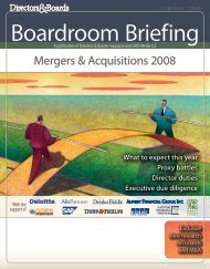 Mergers & Acquisitions 2008 - Directors & Boards