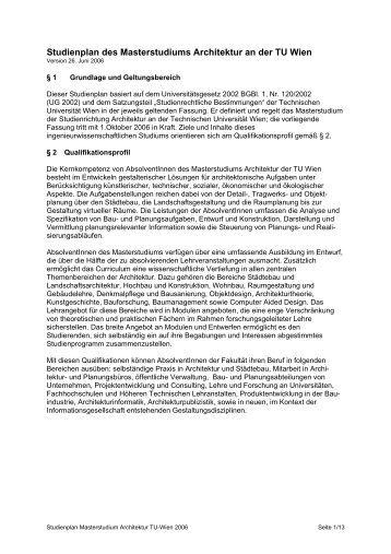 Anmeldung zur masterarbeit des masterstudiums tu berlin for Studienplan architektur