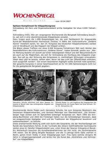 vom 18.04.2007 Spitzen-Kompliment für Klöppelkongress ...