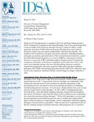 IDSA Comments on Drug Shortages Task Force and Strategic Plan