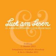 Programm 12. Ahrenshooper Literaturtage 2013 - Redaktion
