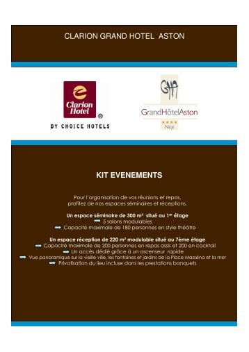 clarion grand hotel aston kit evenements - grand hotel aston nice
