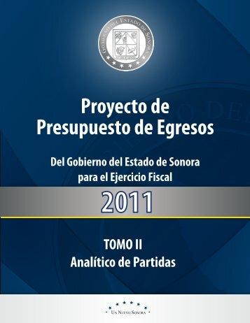 Analítico de Partidas - H. Congreso del Estado de Sonora